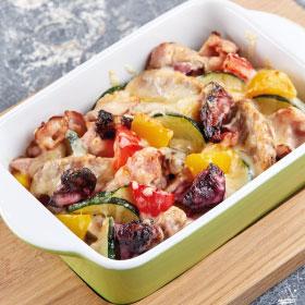 Гратен со свининой барбекю и овощами
