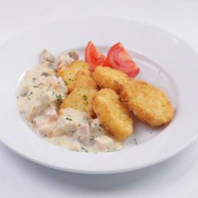 Картофельные крокеты с мачанкой